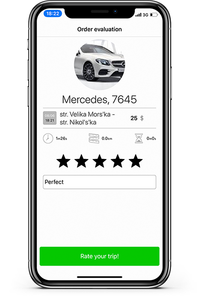 Rate taxi trip from app